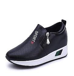 Detaiwin Women Casual Walking Shoes Pu Leather Waterproof Comfort Trainers Zip Slip On Spring Wedge Sneakers