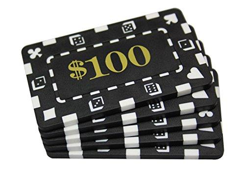 5 Pcs Denominated Rectangular Poker Chips Plaques $100 Black