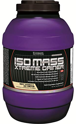 Ultimate Nutrition ISO Mass Xtreme Weight Gainer Protein Isolate Powder with Creatine - Gain Serious Lean Muscle Mass Fast with 60 Grams of Protein, Vanilla Ice Cream, 30 - Xtreme Muscle Gainer