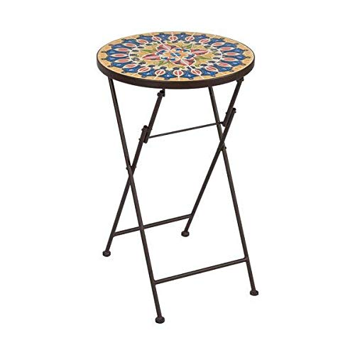 Fleur De Lis Living Folding Brown Iron Frame Round Mosaic Design Glass Top Side Table with Powder Coated Base + Basic Design Concepts Expert Guide