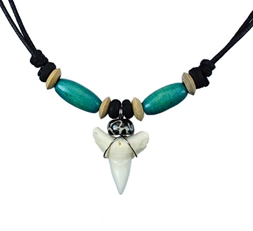 Exoticdream Real Shark Tooth Necklace Surfer Hawaiian Beach Boys Girls Men - Color Beads (Wolf Costume Party City)