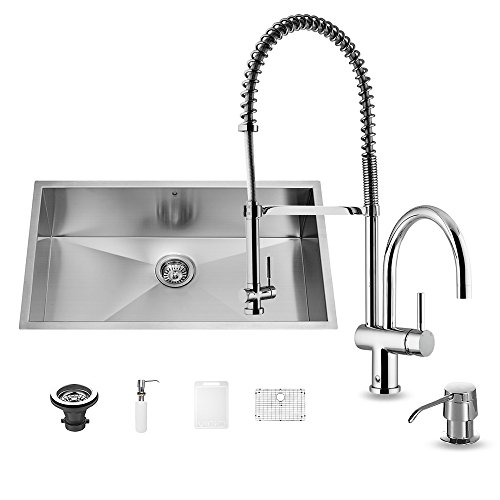 VIGO All in One 30-inch Undermount Stainless Steel Kitchen Sink and Chrome Faucet Set by Vigo