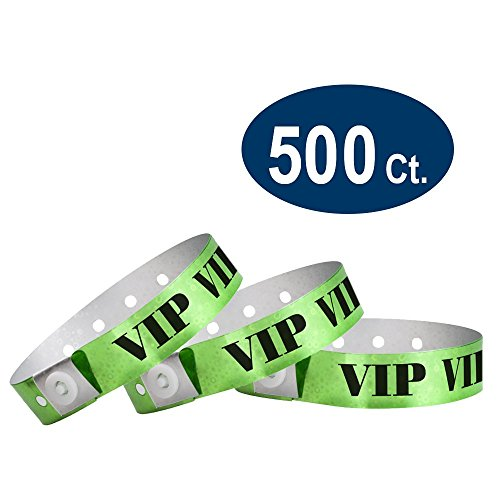 (WristCo Holographic Green VIP Plastic Wristbands - 500 Pack Wristbands for Events)