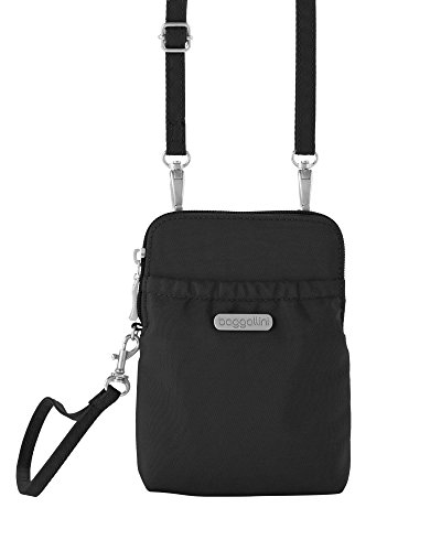 Wallet Travel Nylon Crinkle (baggallini Bryant RFID Wallet with Strap (Black/Sand))