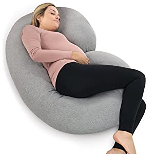 PharMeDoc Pregnancy Pillow with Jersey Cover, C Shaped Full Body Pillow - Available in Grey, Blue, Pink, Mint Green 7