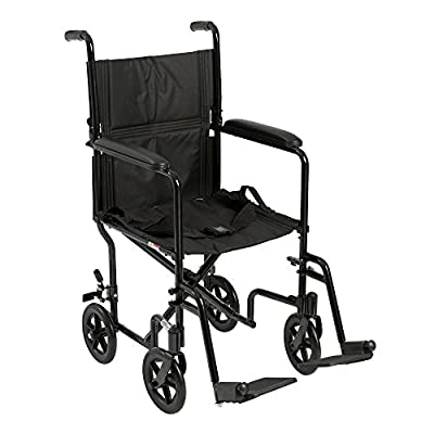 "Drive Medical Deluxe Lightweight Aluminum Transport Wheelchair, Black, 17"""