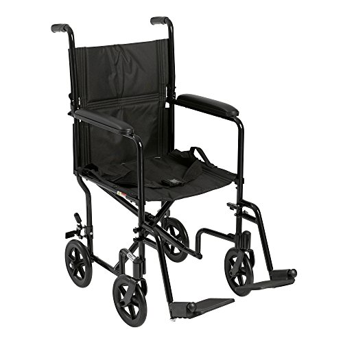 (Drive Medical Deluxe Lightweight Aluminum Transport Wheelchair, Black, 17