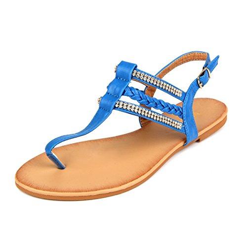 MuDan Women's Strappy Rhinestones Thong Buckle Strap Gladiator Flat Sandals (9 B(M) US, DIVER BLUE)