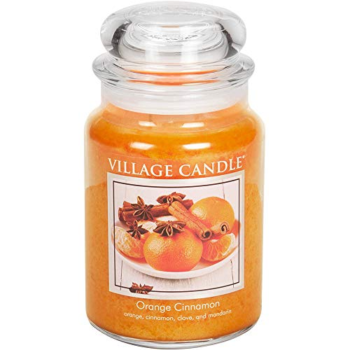 Village Candle Orange Cinnamon 26 oz Glass Jar Scented Candle, Large (Scented Orange Candles)
