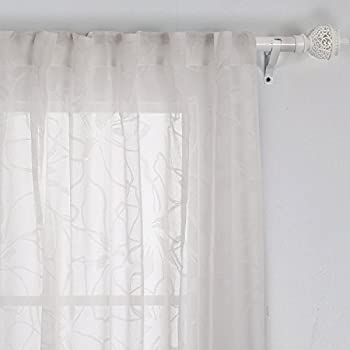 deconovo white sheer curtains back tab cotton curtains floral sheer drapes sheers for living room 52w