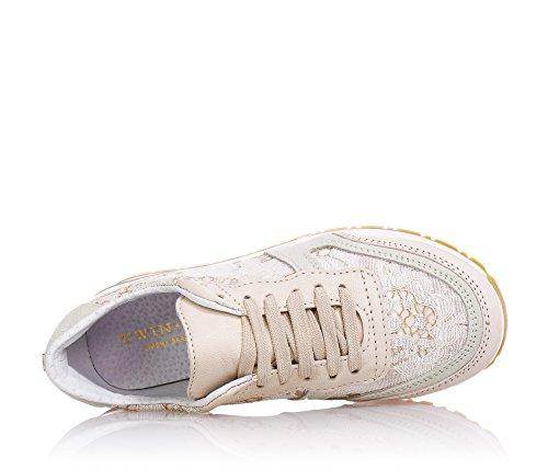 Twin Set Beige Schuhe mit Schnürsenkel, Aus Leder und Spitze, Mädchen
