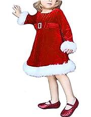 SSPalu Toddler Baby Girls Christmas Dress Santa Claus Red Warm Velvet Zipper Dresses Party Princess Xmas Outfits