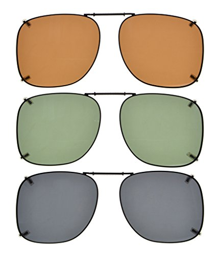Eyekepper Grey/Brown/G15 Lens 3-pack Clip-on Polarized Sunglasses 2 3/16