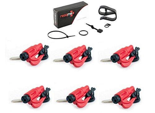 Resqme 6 Pack (RED) Resqme Car Escape Tool Plus One (1) FREE VISOR CLIP & LANYARD ACCESSORY PACK, The Original Keychain Car Escape Tool Made In USA - Window Glass Breaker & Seat Belt Cutter