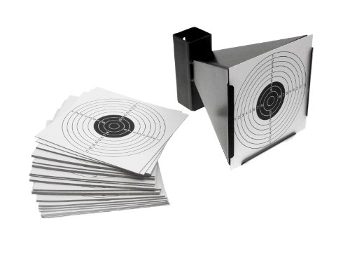 BEGADI Metall Kugelfang mit Trichter inkl. 100 Zielscheiben 14 x 14cm (für BBs, Diabolos etc.)