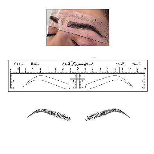 CHOOSE-IT 50Pcs High Arch Microblading Ruler Sticker Eyebrow Shaping Stencils Microblading Supplies Disposable Adhesive Eyebrow Template Permanent Makeup Measure Tool
