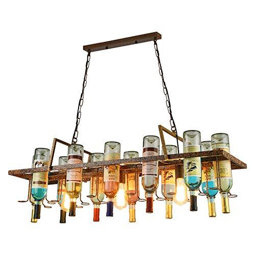 Ganeep Loft Retro Hanging Wine Bottle Ceiling Iron Pendant Lamps E27 Edison Hanging Lights LED Pendant Lights for Living Room Bar Restaurant Kitchen Home Decorative Lighting
