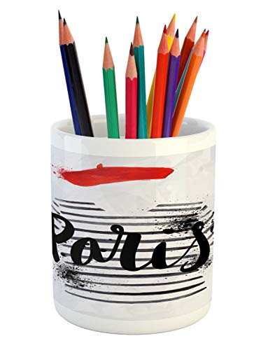 Lunarable France Pencil Pen Holder, Paris Hand Written Quote Over Beret and Famous Striped Sweater with Grungy Artwork, Printed Ceramic Pencil Pen Holder for Desk Office Accessory, White Black ()