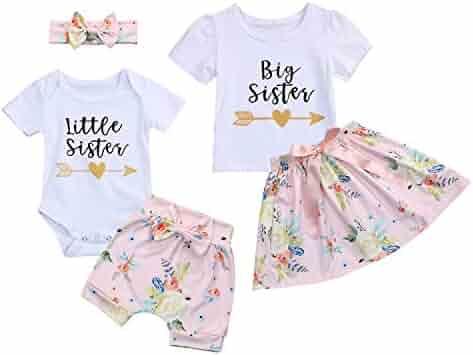 92643af74f5c6 Kids Newborn Baby Girls Sister Outfit Letter Romper T-Shirt+Floral Print  Tutu Skirt