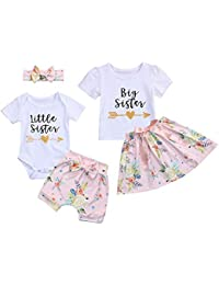 5583ea75f Kids Newborn Baby Girls Sister Outfit Letter Romper T-Shirt+Floral Print  Tutu Skirt