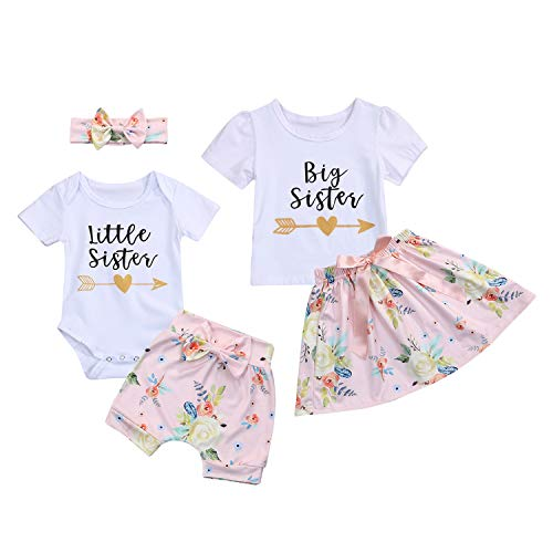 Kids Newborn Baby Girls Sister Outfit Letter Romper T-Shirt+Floral Print Tutu Skirt Shorts Pants Dress Clothes Set]()
