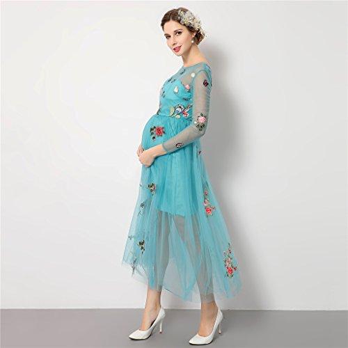 Les Femmes Élégantes Magideal Broderie Organza Bleu Fleur Robe Manches Longues Enceinte O-cou Accessoires De Photographie Robe De Maternité