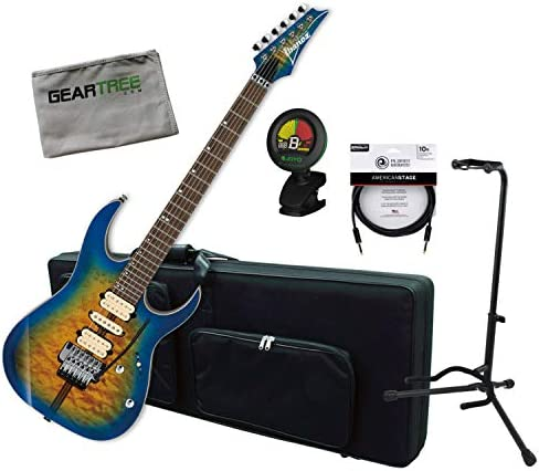 Ibanez RG6PFGMLTD GBB RG Premium Geyser Blue Burst - Guitarra eléctrica con funda, sintonizador, cable, soporte, ropa: Amazon.es: Instrumentos musicales