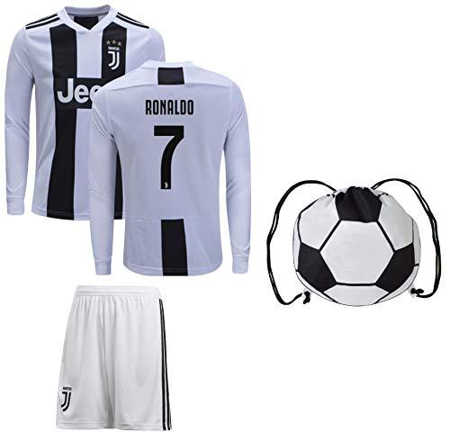Cristiano Ronaldo Juventus #7 Youth Soccer Jersey Home Long Sleeve Shorts Kit Kids Gift Set (YL 10-13 Years, Ronaldo #7)
