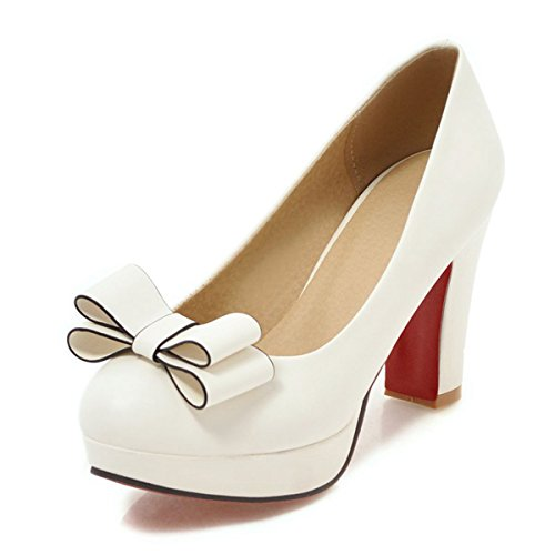 tie Chunky High Heel Platform Pumps Work Party Round Toe Dress Shoes ()