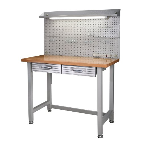 (Seville Classics (UHD20247B) UltraHD Lighted Workbench (48L x 24W x 65.5H Inches) Stainless Steel)
