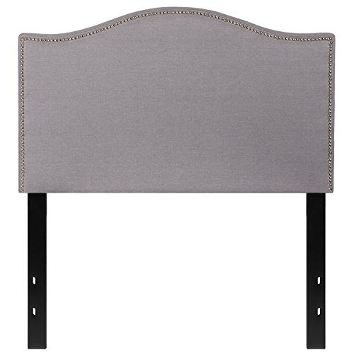 Flash Furniture Lexington Upholstered Twin Size Headboard with Decorative Nail Trim in Light Gray Fabric