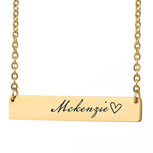 me Costumize Name Necklace Bar Initial Necklace Personal Jewelry Birthday Valentine Gift (Mckenzie Metal)