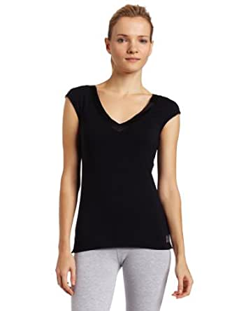 Calvin Klein Womens Essentials With Satin Short Sleeve Dolman Pajama Top, Black, Small