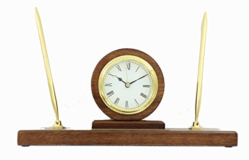 (Brass and Walnut Finished Quartz Clock Pen Set)