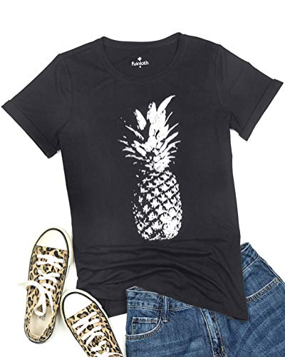 fuinloth Women's Graphic Tees, Short Sleeve Crewneck Cute T-Shirts, Printed Cotton Summer Tops Pineapple Black ()