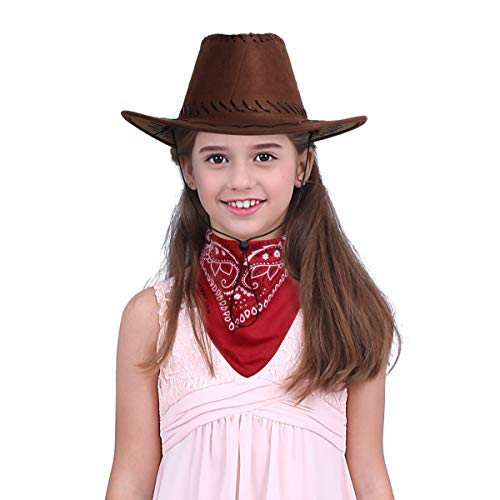 inlzdz Kids Boys Girls Cowgirl Cowboy Hat Western Hat with Paisley Bandanna Halloween Party Dress Up Hats Red&Coffee One Size ()
