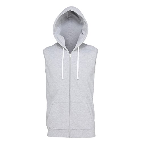 Awdis Just Hoods Mens Sleeveless Hoodie Jacket (L) (Heather (Heather Grey Sleeveless)