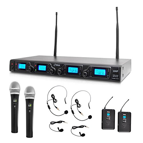 Pyle Upgraded Wireless Microphone System - 4-Channel UHF, Adjustable Frequency, Includes (2) Handheld Mics, (2) Beltpack Transmitters, (2) Lavalier Mics & (2) Headset Mics - (4 Channel Wireless Kit)