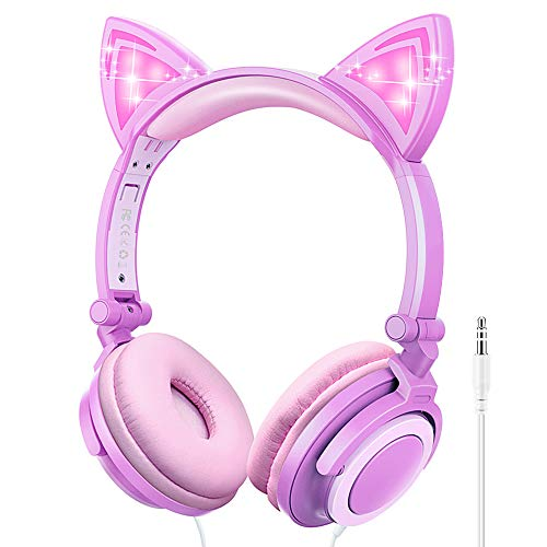 Kids Headphones, Cat Ear Wired Headphones for Girls Boys, Over Ear Headset Foldable Adjustable 85db Volume Limited for iPhone/iPad/PC(Purple+Pink)