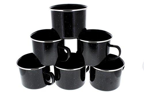 Direct 2 Boater 16 oz Durable Metal Camping Mug with Black Speckled Enamel Finish - 6 Pack - ()