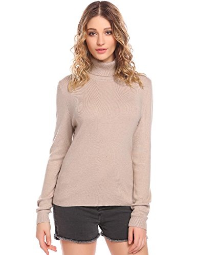 Declare Women Ribbed Knit Turtleneck Long Sleeve Slim Fit Basic Pullover Sweater