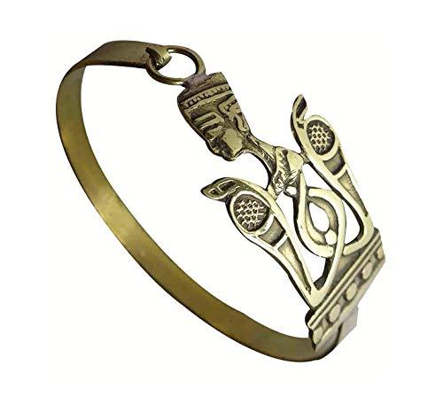 Egyptian Pharaoh Brass Bracelet Cuff Nefertit Cleopatra Ankh Key Tut Isis Horus eye Life Scarab beetle Luck Hieroglyphics Cartouche Pharaoh's Costume Jewelry Accessory Hieroglyphic 108 (Model 12)