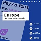 #7: PrePaid Europe (UK THREE) sim card 12GB data+3000 minutes+3000 texts for 30 days with FREE ROAMING / USE in 71 destinations including all European countries