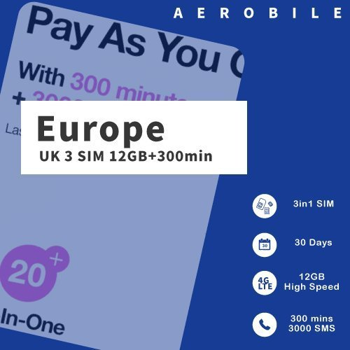 PrePaid Europe (UK THREE) sim card 12GB data+3000 minutes+3000 texts for 30 days with FREE ROAMING / USE in 71 destinations including all European (Orange Mobile)