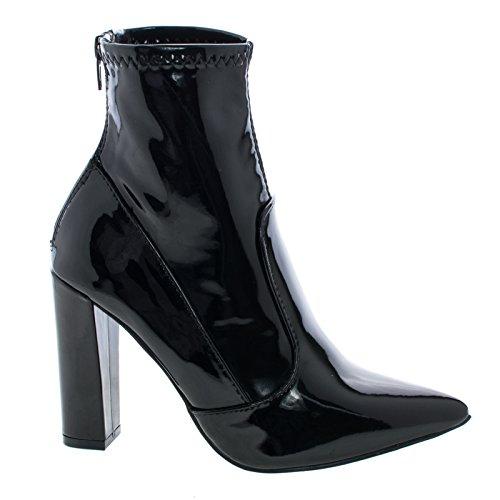 Liliana Women Bootie - Eloise1 Black Fetish Ankle Booties On Block High Heel Dress Boots -7