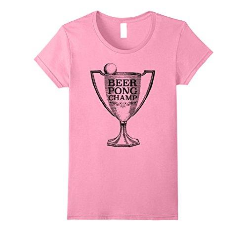 Womens Beer Pong Champ Tee Small Pink (Beer Pong Womens Pink T-shirt)