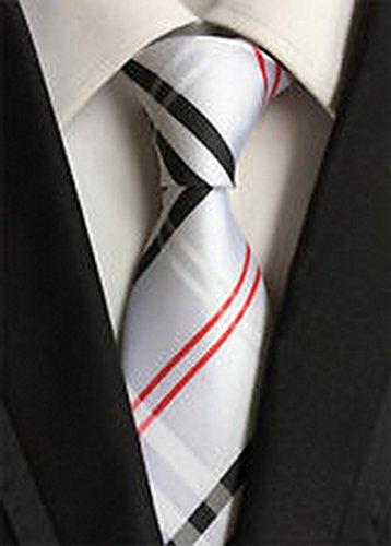 [Calvinci - Classic Checked Red Black White JACQUARD WOVEN 100% Silk Men's Tie Necktie TGIN 120036] (Classic Playboy Bunny Costume Black)