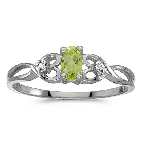 Genuine Peridot Ring Stone (14k White Gold Genuine Green Birthstone Solitaire Oval Peridot And Diamond Wedding Engagement Ring - Size 8 (1/5 Cttw.))