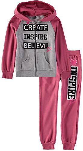 Star Ride Girls' Zip Front Hooded Sweatshirt Jogger Set (Believe/Pink, ()