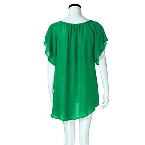 vert Courbe Grande LMMVP Aux Tops Bat LMMVP Courtes Femme Femmes Dentelle shirt Blouse en Taille Femmes Manches Camisole T wqc1cgzU
